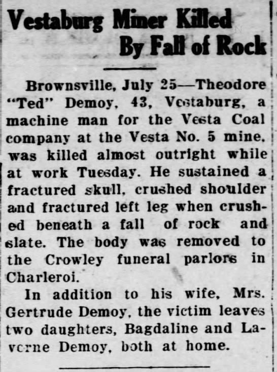 Theodore Demoy death25 Jul 1930 Monongahela - v..i.n. ft;-..- ft;-..- ft;-..- ft;-..- rruj-...