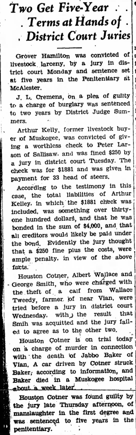 Houston Cotner stealing calf and murder.