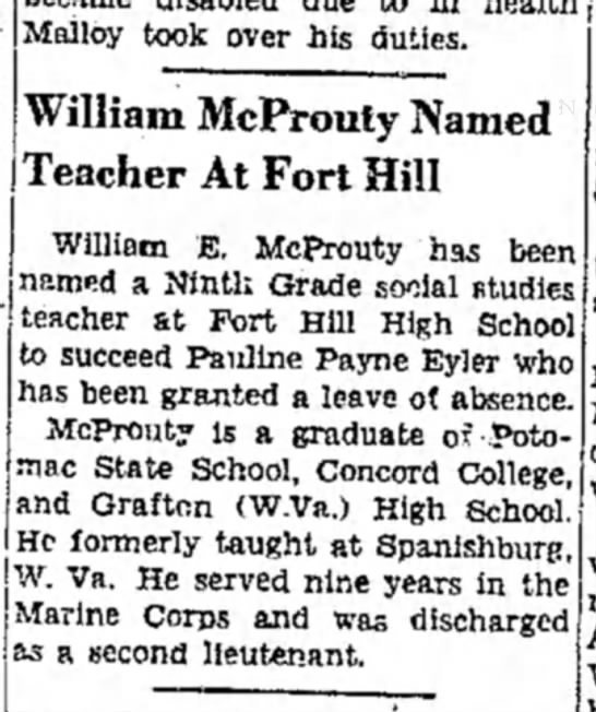 William e Mcprouty Cumberland Evening Tims May 29 1952 - Malloy took over his duties. William McProuty...