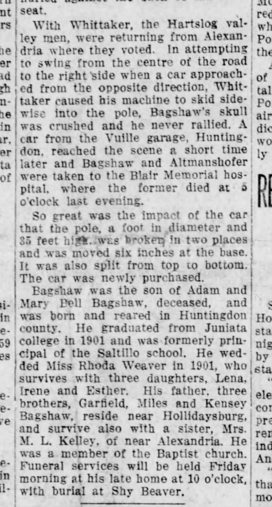 Emory Bagshaw killed-Altoona Tribune-09 Nov 1916 p1-part 2 - un-: in of In Re- in seat. With Whittaker, the...