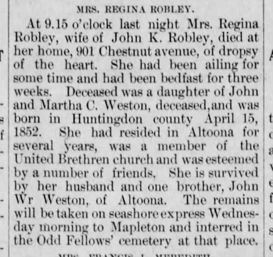 Regina Robley obit-Altoona Tribune-3 Jun 1902 p1 - MHS. REOINA ROHI.EY. At 9.15 o'clock last night...