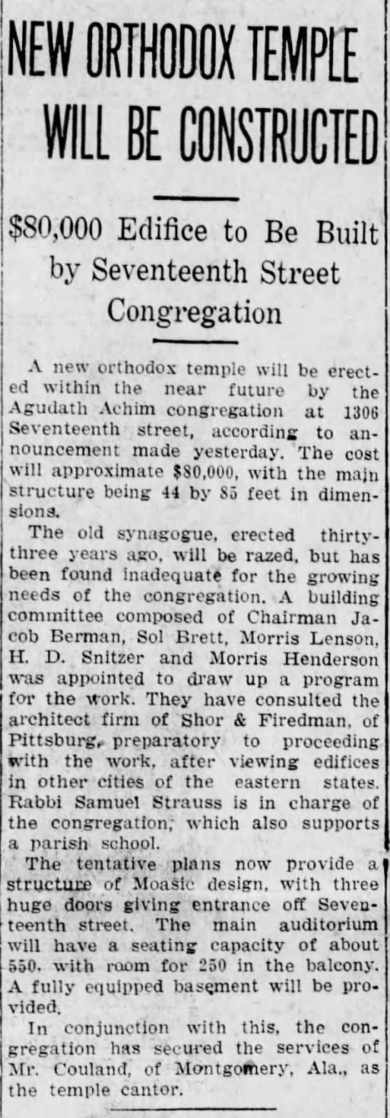 New temple to be erected- 9 June 1923 - WILL BE CONSTRUCTED $SO,000 Edifice to Be Built...