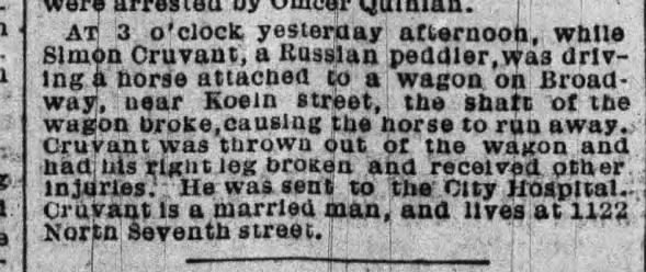 Horse-wagon accident involving Simon Cruvant