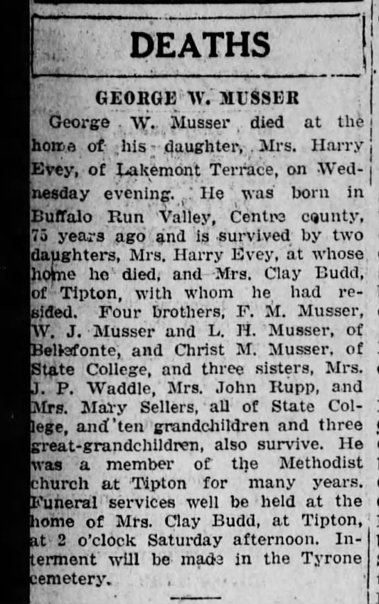 "George W Musser obit - DEATHS GEORGE W. MUSSER George . ""Vy.- ""Vy.-..."