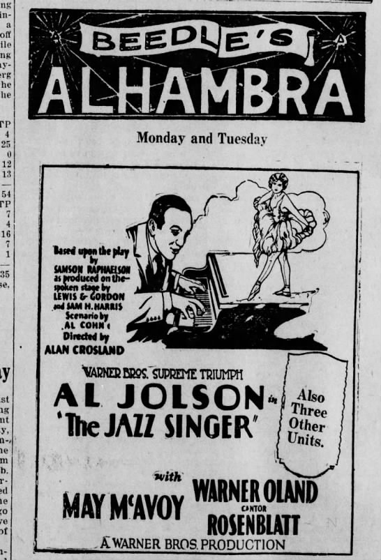 Alhambra_Notes_1929_03-04_JazzSinger - Isimin-a a oft he the TP 4 25 0 12 13 54 TP 7 4...