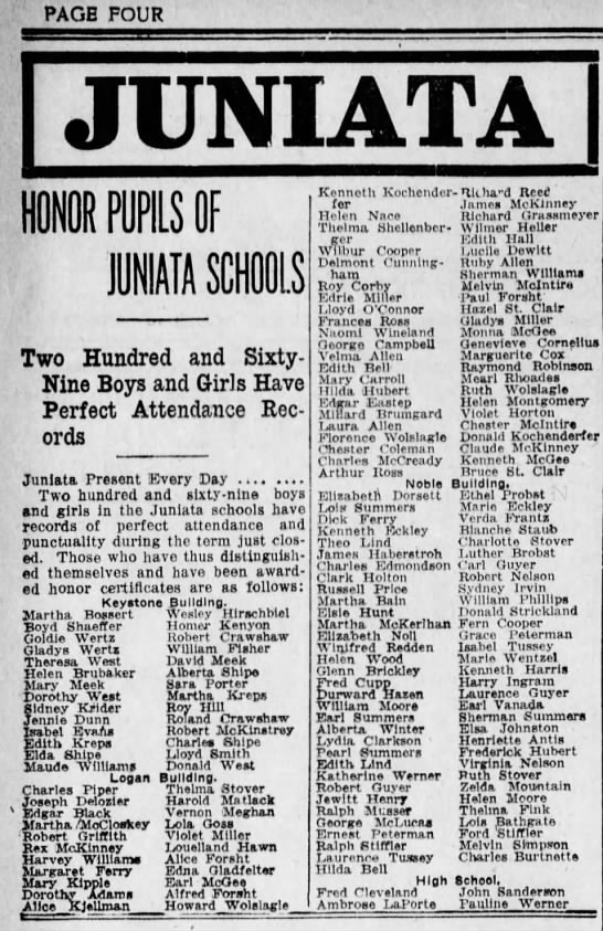 Delmont Cunningham  Honor Pupils Altoona, Pennsylvania 10 June 1918 - PAGE FOUR r HONOR OF Two Hundred and Sixty-Nine...