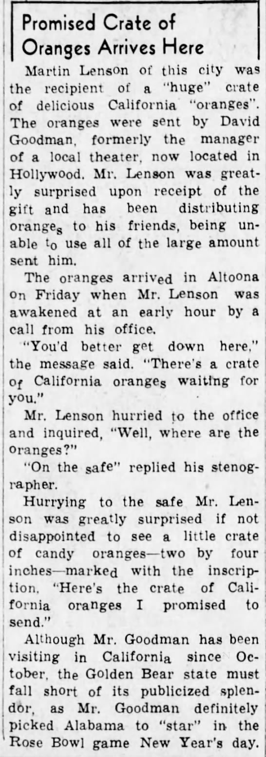 Crate of oranges for Martin Lenson--1938 - Promised Crate of Oranges Arrives Here Martin...