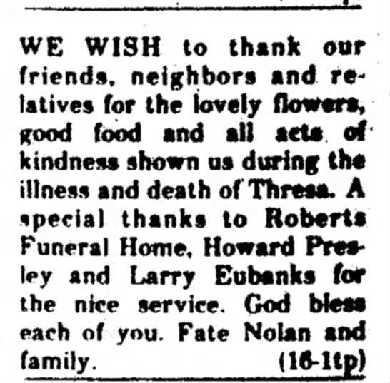 Fate, 16 June 1977 - WE WISH to thank our friends, neighbors and...