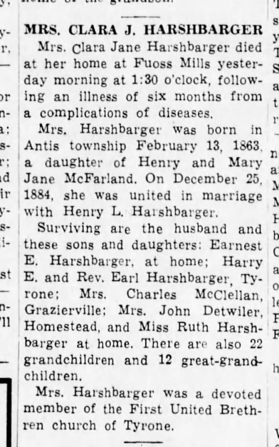 Clara (Mrs. Harry) Harshbarger-Altoona Tribune 23 Sep 1939 p12 - Twenty-third Holli-daysburg. MRS. CLARA J....
