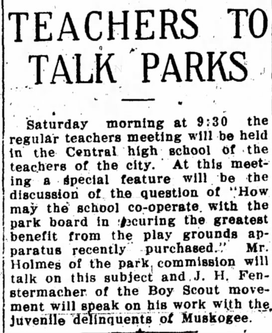 "Parks - Fenstermacher - TEACHERS TO TALK PARKS •"" ^ J , "" Saturday..."
