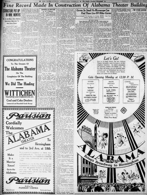 Alabama theatre grand opening ad and articles