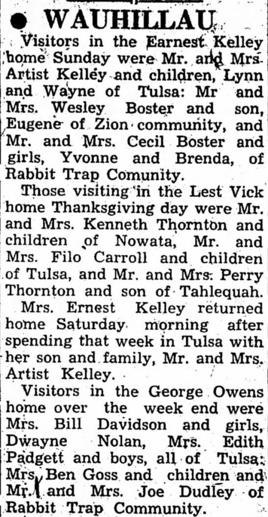 Owens, Kelley, Thornton: 29 Nov 1956 - V • WAUHILLAU ; Visitors in the Earnest. Kelley...