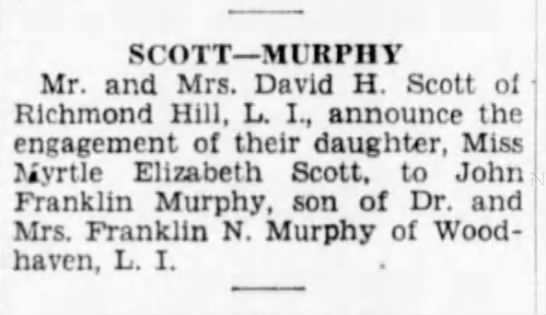 The Brooklyn Daily Eagle (Brooklyn, New York) - Sunday, 26 Apr 1931 p 22 - SCOTT MIR PHY Mr. and Mrs. David H. Scott of...