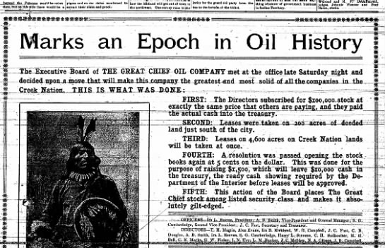 J.C. Fast director of The Great Chief Oil Co - beyond the Potomac would be redun dabt, but on...