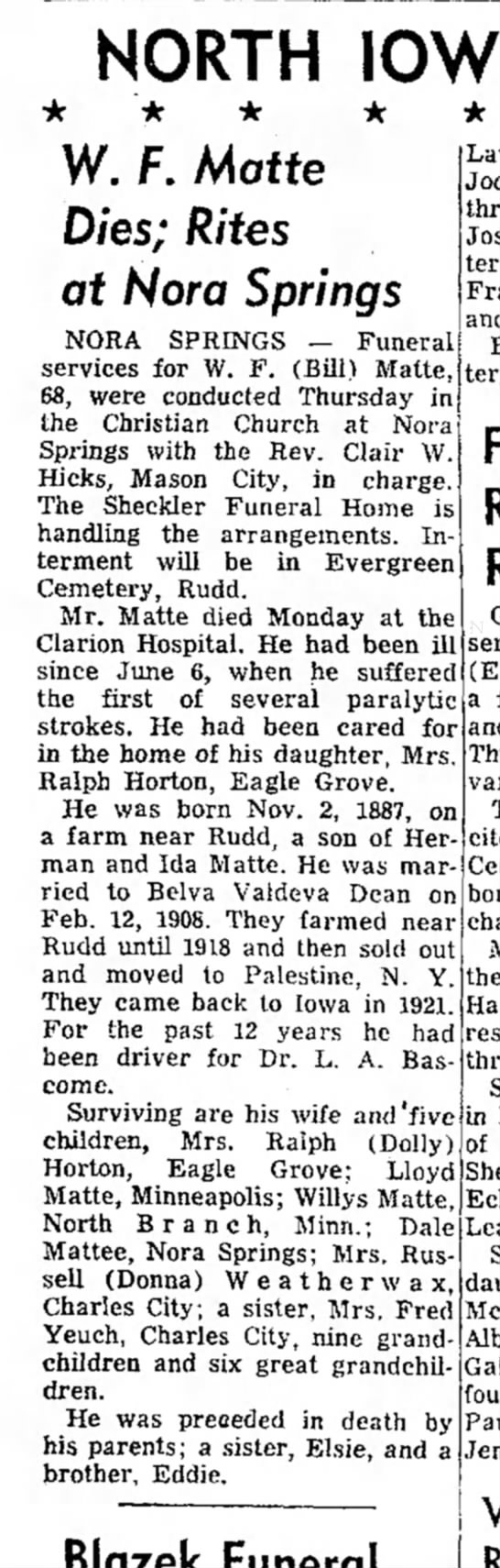 - NORTH IOWA W. F. Matte Dies; Rites at Nora...