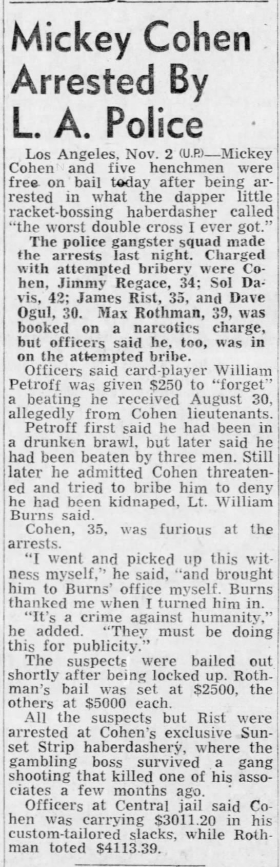 Max Rothman arrested with Mickey Cohen. - Mickey Cohen Arrested By L. A. Police Los...