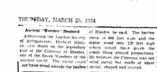 """Ancient """"Wonder"""" Doubted - THURSDAY, MAHCH 2.5. 1934 Anrlont ••..."""
