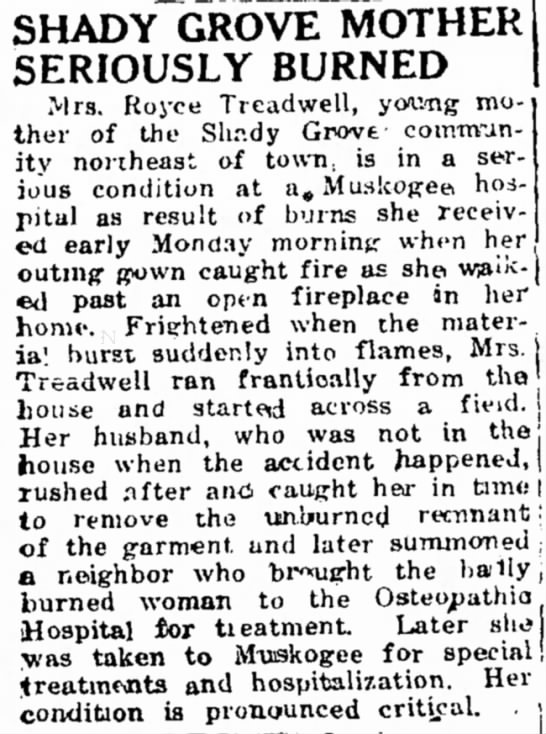 Royce Treadwell's wife is burned