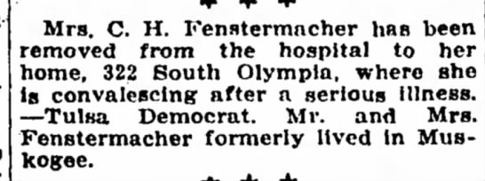 Ami Fenstermacher - Mrs. C. H. Fenstermncher has been removed from...
