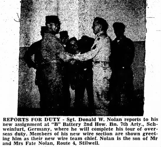 Fate, 12 Sep 1957 - ^^^^^^^^^ REPORTS FOR DUTY - Sgt. Donald W....