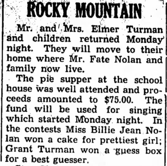 Fate, 12 Dec 1946 - ROCKY MOUNTAIN Mr. and'Mrs. Either Turman and...