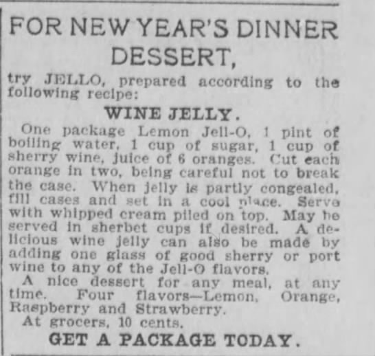 Wine Jelly recipe - FOR NEW YEAR'S DINNER DESSERT, try JELLO,...
