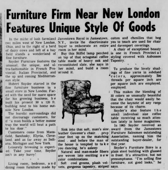 Snyder's Furniture Store - Furniture Firm Near New London Features Unique...