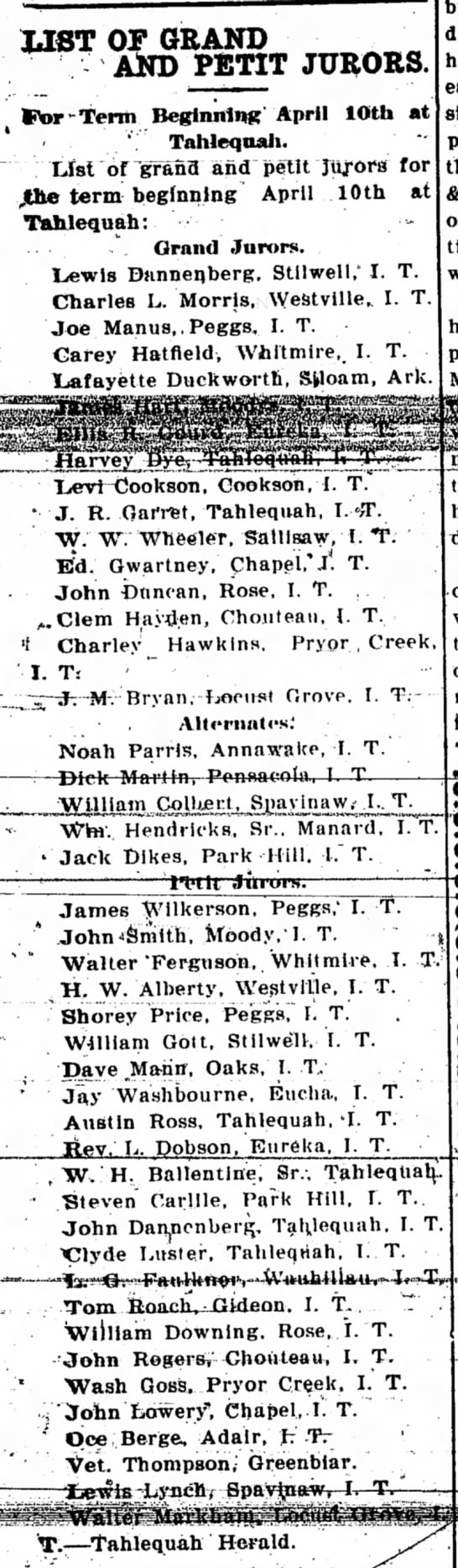 Ed. Gwartn3y on grand jury, muskogee daily phoenix, march 17, 1905 - UST OP GRAND AND PETIT JURORS t Ctor-Tenh...