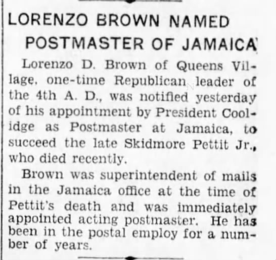 Pettit, Skidmore Postmaster Successor 1928 - LORENZO BROWN NAMED POSTMASTER OF JAMAICA'...