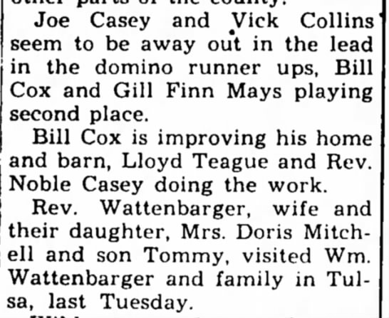 Collins, 30 Oct 1947 - Joe Casey and Vick Collins seem to be away out...