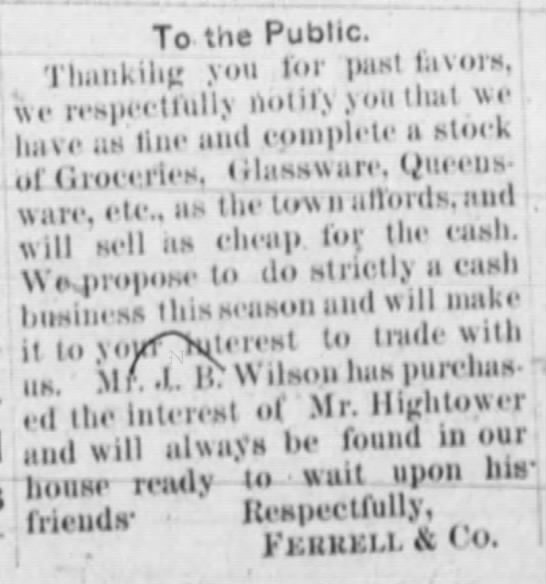 1892 Ferrell ad - Tn the Public. Thankihg you for pasll.ivors,...