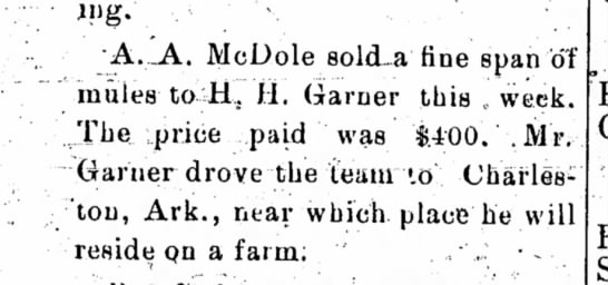 A.A. McDole sold a fine span of mules. - following. • A._A. McDole solcLa fine span of...