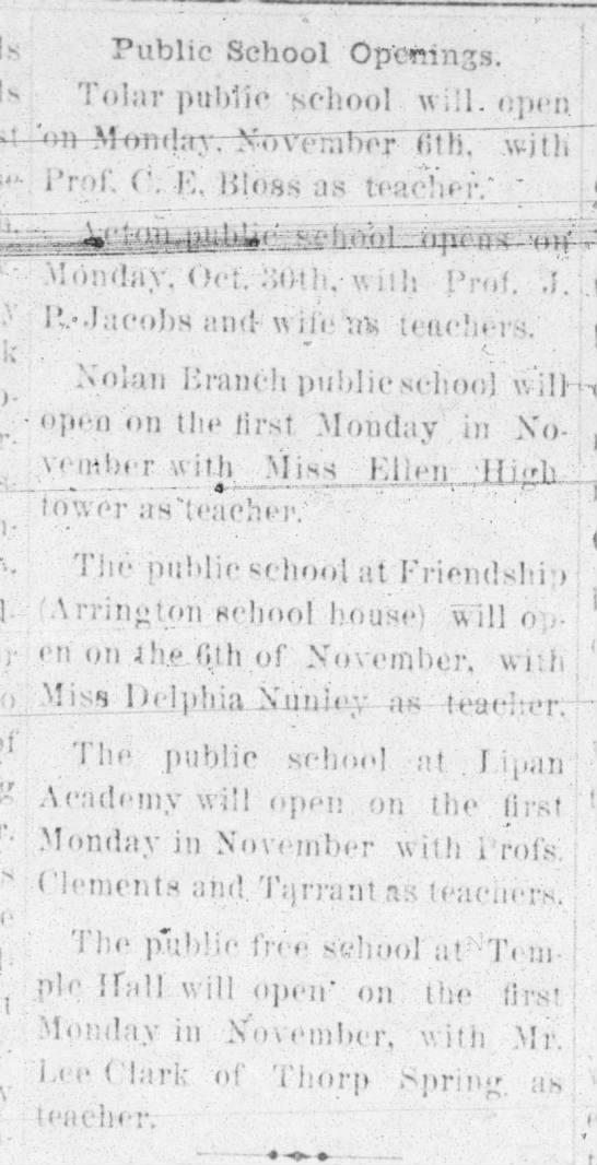 1893 school openings - Public School Op'orrnxs. To!;ir public school,...