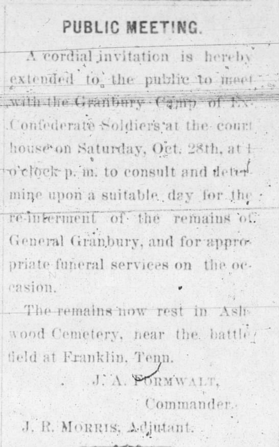 1893 public meeting Gbury reinterment - PUBLIC MEETING. TVTonJi.il jnvitaticn is...