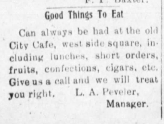 1923 Peveler cafe - flood Things To Eat Can always he ha-1 ha-1...