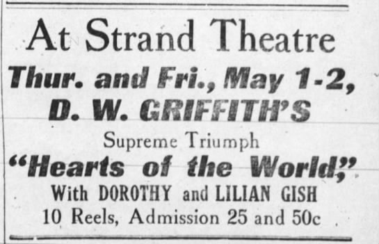 1924 Strand Theatre - At Strand Theatre Thur. and Fri., May 2-2, 2-2,...