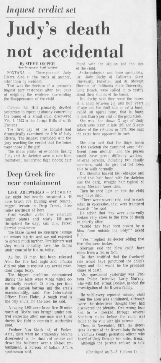 Mar 31, 1974 Judy Rivera, Page 1 - lnqucsl verdict set Judy's death not accidental...
