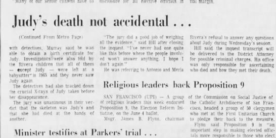 May 31, 1974 Judy Rivera, Page 2 - our Judy's death nol accidental (Continued From...