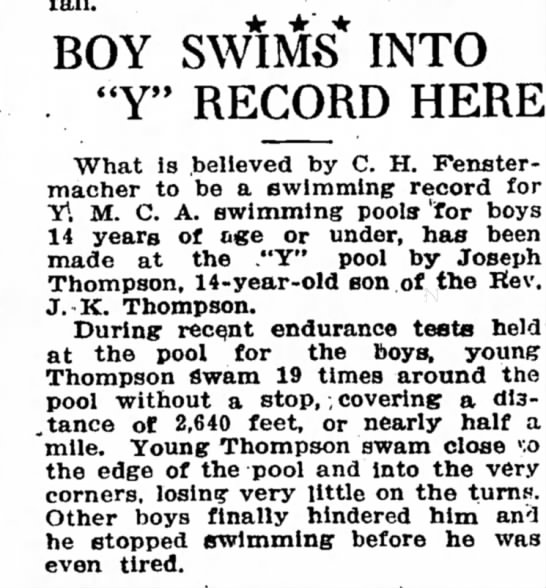 "Swimming record - Fenstermacher - BOY SWIMS'INTO ""Y"" RECORD HERE What is believed..."