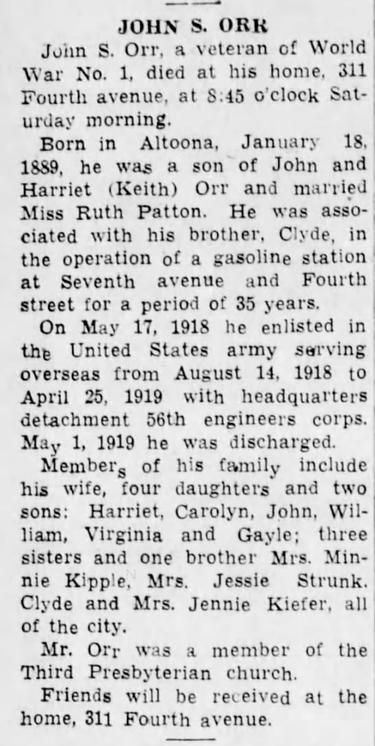 1942 Altoona Tribune Grandpa Orr - JOHN S. ORK John S. Orr, a veteran of World War...