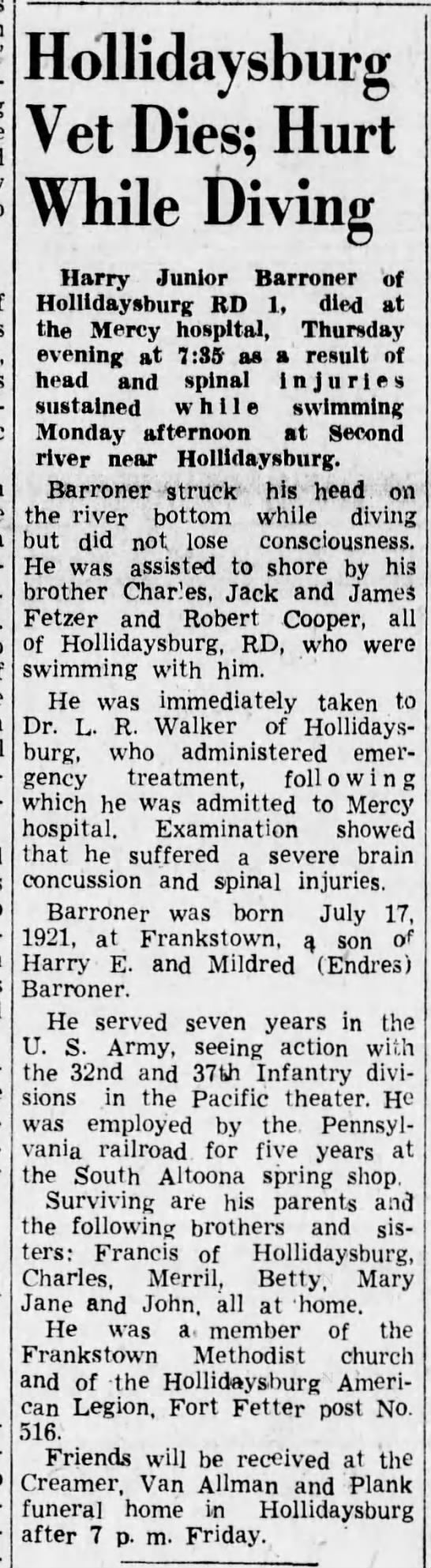 Harry Junior Barroner - Hollidaysburg Vet Dies; Hurt While Diving Harry...