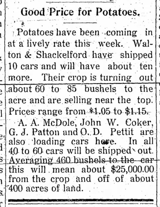 Good Price for Potatoes  A.A. McDole loading cars - Good Price for Potatoes, (Potatoes have been...