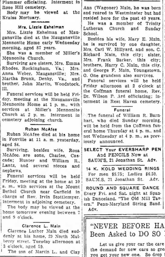 Main, Clarence Luther, Wed 24 Apr 1946 pg 14, Daily Mail, Hagerstown, MD - Plummer officiating. Interment in Rose Hill...