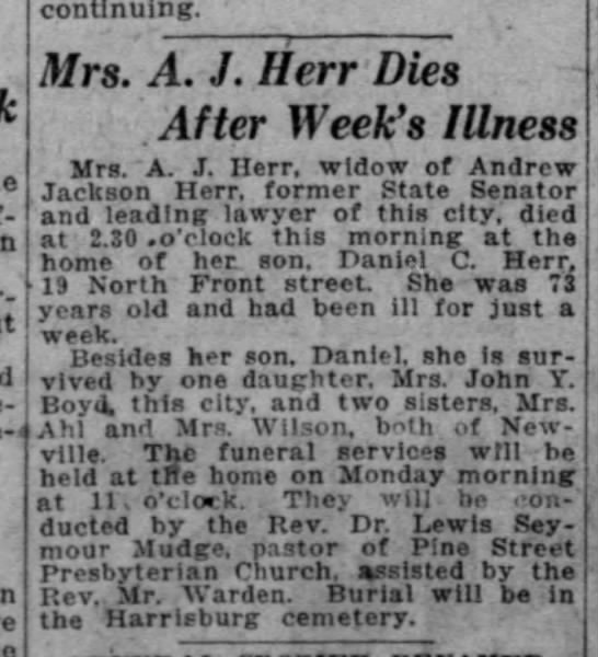 Nancy Gilmore Herr obituary - continuing. Mrs. A. J. II err Dies . After...