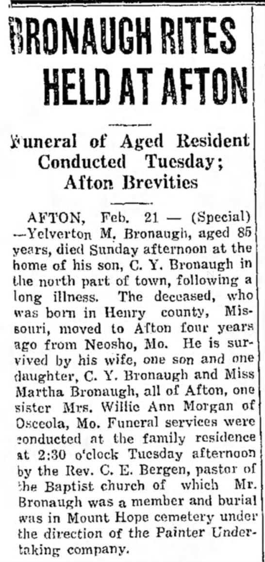 Yelverton M. Bronaugh death - HELD AT AFTON funeral of Aged Resident...