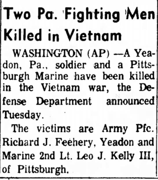 - Two Pa. Fighting Men Killed in Vietnam...