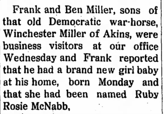 - Frank and Ben Miller, sons of that old...