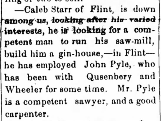 In the Cherokee Advocate Paper (Tahlequah, OK 31-March-1882 - —Caleb Starr of Flint, is down interests, he...