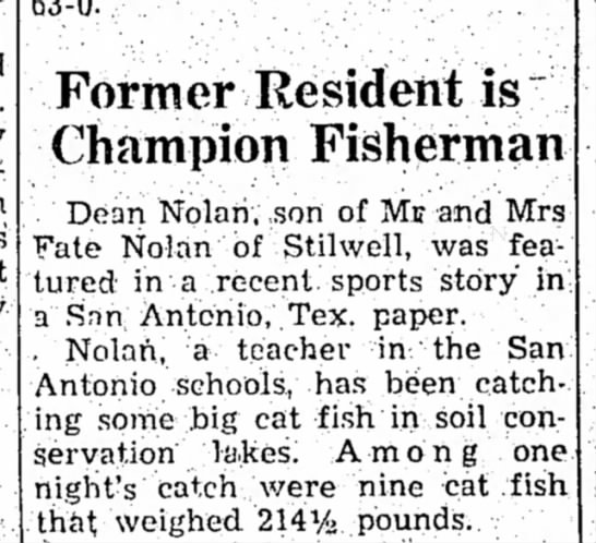 Fate, 10 Nov 1966 - Former Resident is Champion Fisherman Dean...