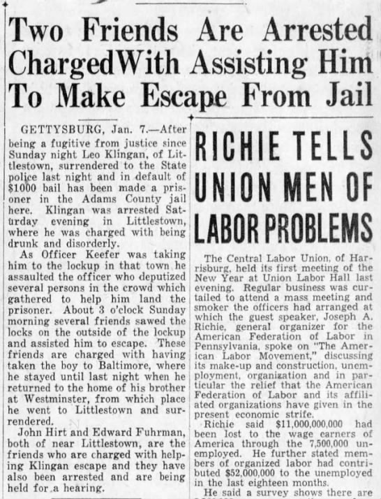 more on escape Hirt 1932 - Two Friends Are Arrested ChargedWith Assisting...